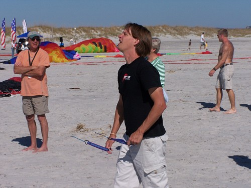 Paul demonstrating a new kite.